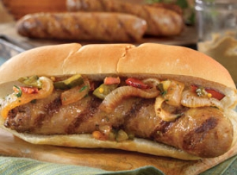 Watkins Recipe - Grilled Brats with Tangy Onion Relish